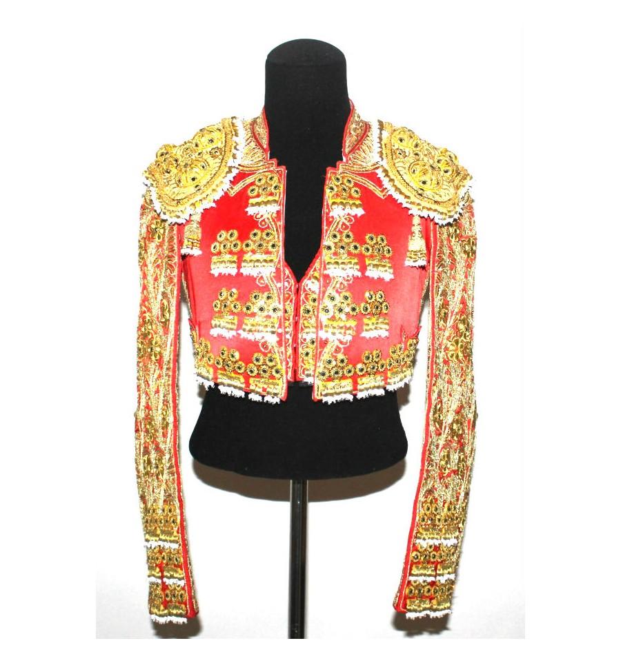 traje de luces de torero grana y oro frente, Traje de Torero