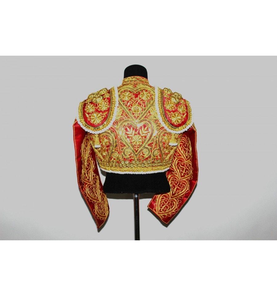 traje de luces rojo y oro detalle espalda, Traje de Torero